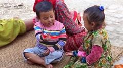 Unidentified Nepali children in Bungamati, Nepal Stock Footage