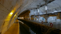 Canals for submarines on secret Soviet military base. Stock Footage