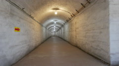 The huge corridor for the transport of nuclear weapon of the old military base. Stock Footage