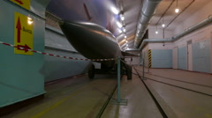 A cruise missile on an old Soviet military base during the Cold War. Stock Footage
