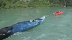 Towing Kayaks Behind Power Boat Stock Footage