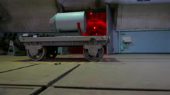 Nuclear charge on a trolley on the Soviet military base during the Cold War. Stock Footage