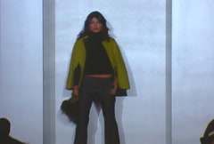 Fashion models walking on runway for Dana Buchman Collection Stock Footage