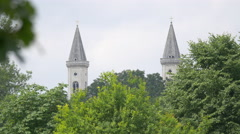 The twin towers of Ludwigskirche in Munich Stock Footage
