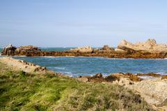 Coastal scene on guernsey,  Channel Islands - stock photo