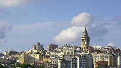 Galata Tower with beatiful spring clouds moving time lapse. Istanbul, Turkey Stock Footage