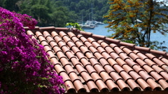 Beautiful summer flowers with red-tiled roofs house view Stock Footage
