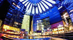 Time-lapse of Pedestrians pass by at the Sony Center in Berlin Stock Footage