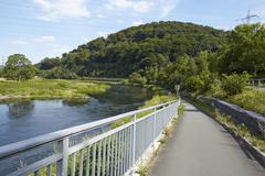 Hattingen (Germany) - Bike lane along the River Ruhr - stock photo