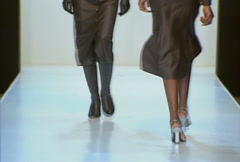 Fashion models walking on runway for David Rodriguez Collection Stock Footage