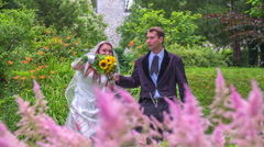 Married couple is waving to their relatives - stock footage