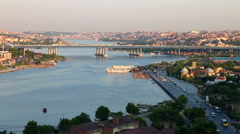 Golden Horn, Halic in Turkish, aerial view, Istanbul Stock Footage