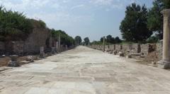 Marble Street Ephesus Stock Footage