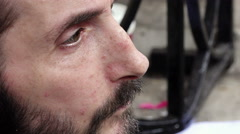 Very sad man asking charity in the street: closeup potrait Stock Footage