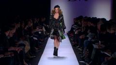 Fashion models walking on runway for Diane von Furstenberg Collection Stock Footage