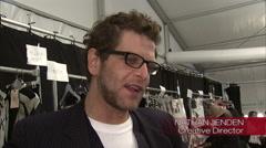 Nathan Jenden being interviewed for Diane von Furstenberg Collection Stock Footage