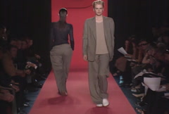 Fashion models walking on runway for D by DKNY Women Collection Stock Footage
