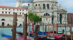 Panning time-lapse of Santa Maria della Salute from Saint Mark's Square. Stock Footage