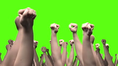 Lots of arms and fists punching the air loop against green - stock footage