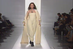 Donna Karan being appreciated by guests during Fall 1998 fashion show - stock footage
