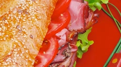 French sandwich : fresh white baguette with chicken sausage Stock Footage