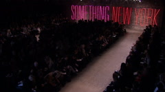 Donna Karan being appreciated by guests during Fall 2011 fashion show Stock Footage