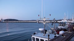 Berthed Crab Fishing Boat, North Shore 04 Stock Footage