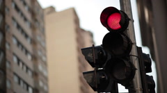 A traffic light changing from green to red. Stock Footage