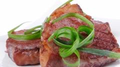 Roasted beef meat strips steak Stock Footage
