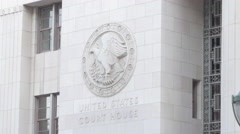 Stock Video Footage of U.S. Court House Logo in Downtown LA
