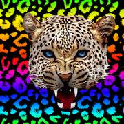 Leopard print pattern. Repeating seamless vector animal background - stock illustration
