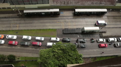 Stock Video Footage of A high angle view in time-lapse of Curitiba City under the rain.