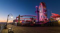 Santa Monica Pier Amusement Park Dusk Timelapse Stock Footage