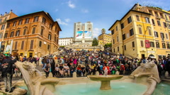 The famous Spanish Steps in Rome Stock Footage