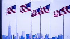 The cityscape of Manhattan view from Liberty Park in New Jersy, USA Stock Footage
