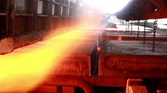 Slab is charging in Furnace, In side view Furnace, Background of industry steel. Stock Footage