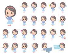 Blue clothes headband cute girl - stock illustration