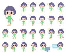 Green clothes bob hair and Glasses girl - stock illustration
