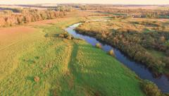 Aerial View. Flight Over river nature Stock Footage