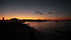 Staring at The Amazon River in front of the sunset, South America, Brazil Stock Footage