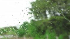 Close Up Of Window Glass With Rain Drops High Speed Train Stock Footage
