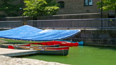 Canoe boats in a canal in London, United kingdom Stock Footage