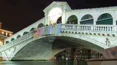 Stock Video Footage of A Rialto bridge time-lapse from side of canal. Cropped.
