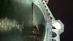 Stock Video Footage of Vertical shot of A Rialto bridge time-lapse from side of canal.