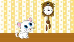 Kitten watching cuckoo clock seamless loop video 4k UHD Stock Footage