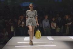Fashion models walking on runway for DKNY Collection Stock Footage