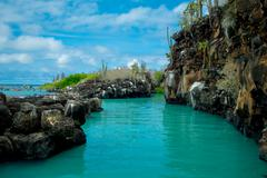 Beautiful landmark Las Grietas is a geological canyon formation in Galapagos - stock photo