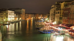 Stock Video Footage of Time-lapse of the Grand canal from Rialto bridge. Cropped.