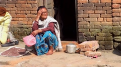 Unidentified Nepalese woman in Kirtipur, Nepal Stock Footage