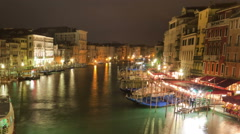 Panning time-lapse of the Grand canal from Rialto bridge. Stock Footage